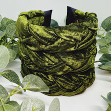 Load image into Gallery viewer, Olive Velvet Large Braided Headband