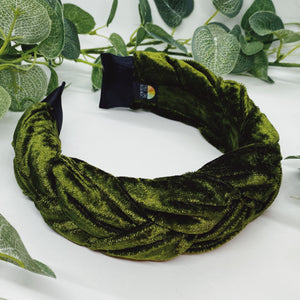 Olive Velvet Large Braided Headband