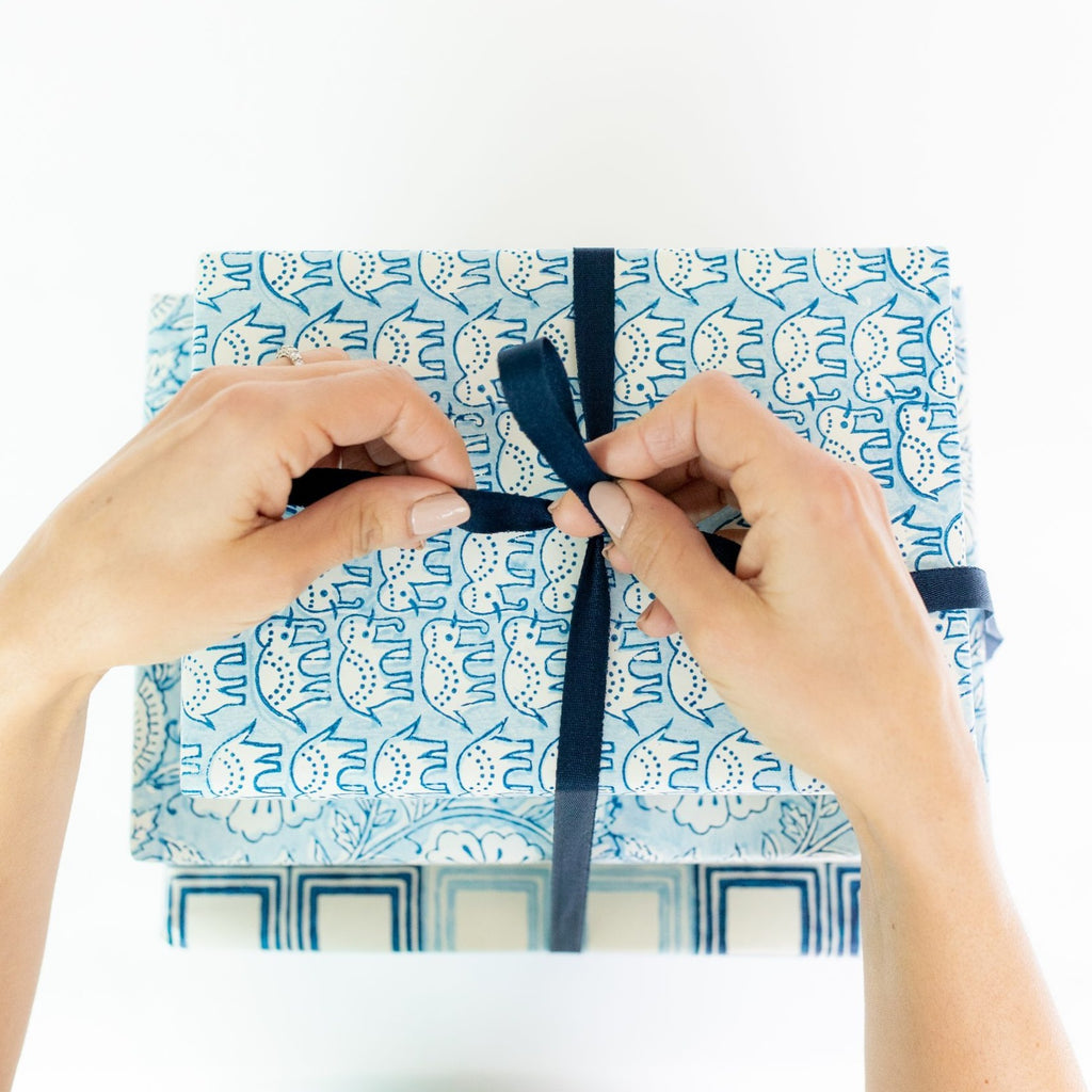 eco-friendly wrapping paper elephant design blue