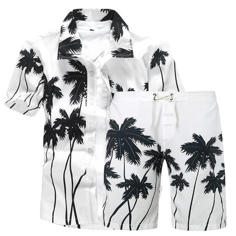 Summer Men's Large Size Casual Print Short Sleeve Set Thin Beach Beach Set