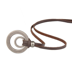 Men  Women Retro Double Circle Leather Rope Casual Necklace