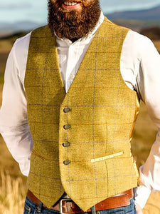 England Style Pure Color V Neck Men Vest