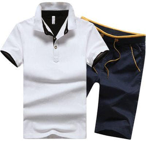 19 Colors Plus Size Men Summer Clothing Set New Fashion Casual Male Suits T- Shirt+Shorts Clothes Sets Tracksuits