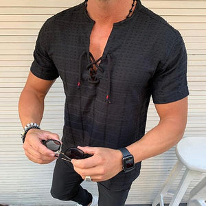 Casual V Neck Strapped Slim Fit Shirt