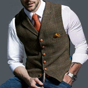 Formal Single-breasted Printed Color Men Vest