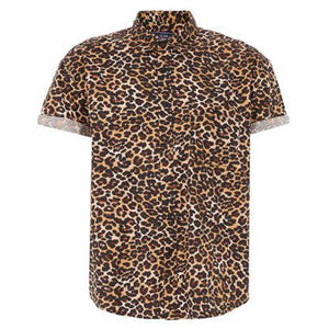 Leopard Print Short-Sleeved Shirt