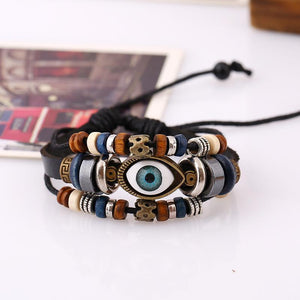 National style Vintage Eyes beaded cowhide   leather bracelet