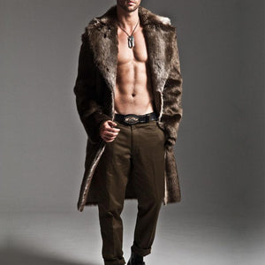 Men's Long Eco-Friendly Faux Fur Thick Coat