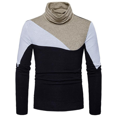Fashion High Collar Color Block Long Sleeves Warm Sweater