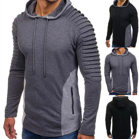 Fashion Personality Color Matching Pleated Hoodie