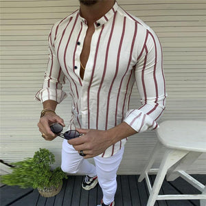 Daily Life Lapel Long-Sleeved Pinstriped Shirt