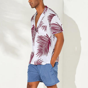 Men's Casual Refreshing Leaves Printed Loose shirts