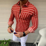 Men's Fashion Simple Stripe Printed Long Sleeve Blouse