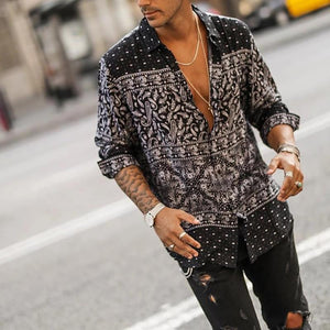 Men's Casual Printing Halflong Sleeve shirts