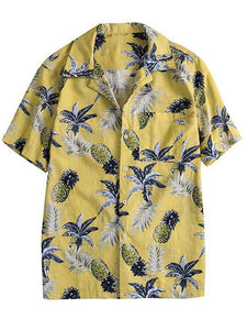 Men's Fashion Pineapple Print Hawaiian Beach shirts