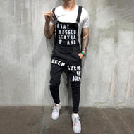 Fashion Torn Alphabet Denim Bib Pants