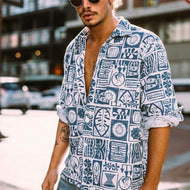 Fashion Summer Vacation Printed Short Sleeve Shirt
