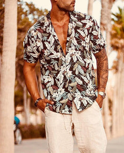 Summer   New Fashion Print Short-Sleeved Shirt