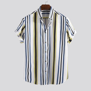 Fashion Contrast Color Stripe Short Sleeve Shirt