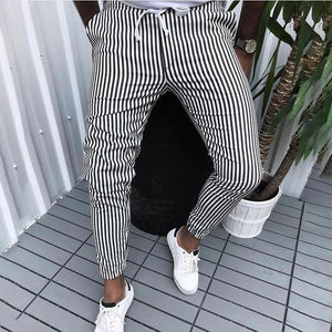 Fashion Casual Stripe Tight Fit Belted Pants