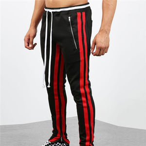 Fashion Street Style Zipper Contrast Color Stitching Trousers