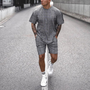 Casual Check Round Neck Short Sleeve Two-Piece Set