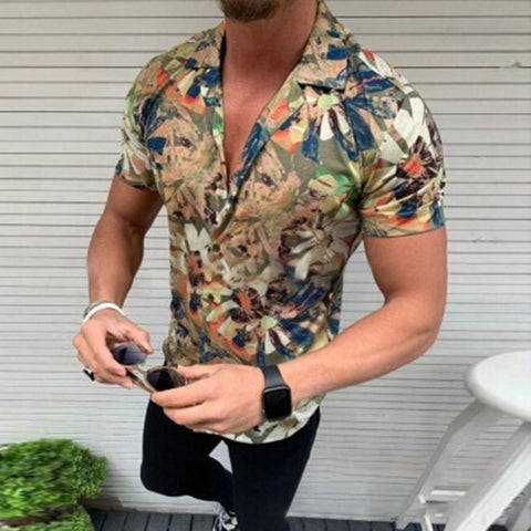 Fashion Men's Printed Short-Sleeved Pocket Shirts