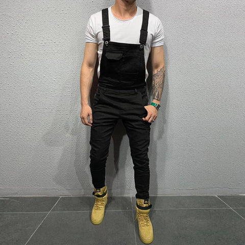 Men's Fashion Pure Colour Denim Overalls