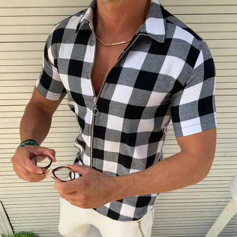 Fashion Check Zipper Turndown Collar Shirt
