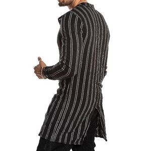 Fashion Folded Collar Stripe Printed Long Sleeve Shirts