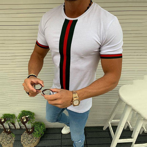 Fashion Round Neck Short Sleeve Contrast Color Stitching T-Shirts