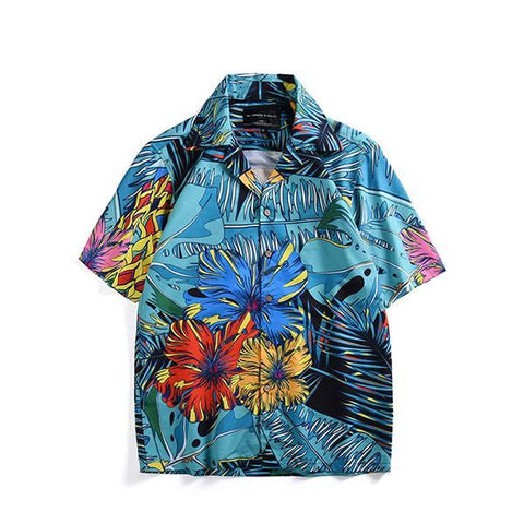 Men's Lapel Single-Breasted Short-Sleeved Printed Casual Shirts