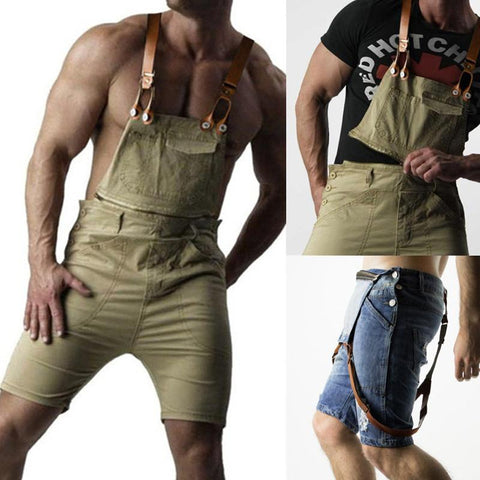 Fashion Broken Hole Slim Fit Straight Type Denim Romper