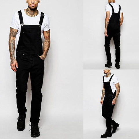 Fashion Straight Type Washed Denim Overalls