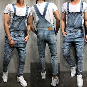 Casual Fashion Broken Hole Denim Overalls