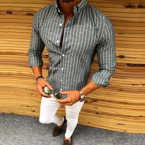 Striped Long-Sleeved Button Lapels Men's Casual Shirt