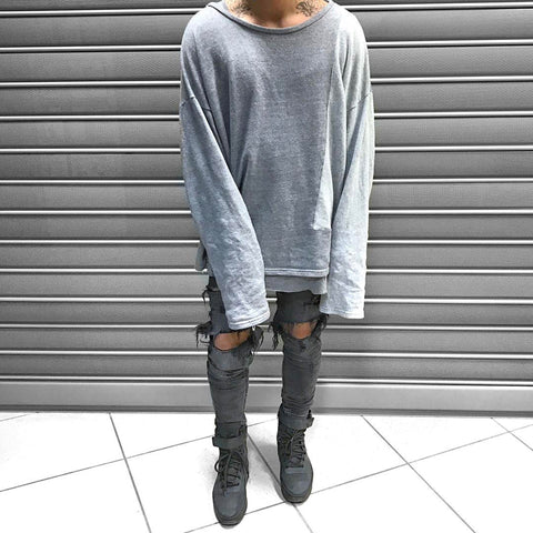 Street Style Colorblock Stitching Long Sleeve Sweater