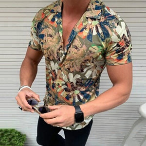 Fashion Beach Palm Leaf Printed Short Sleeve Shirt