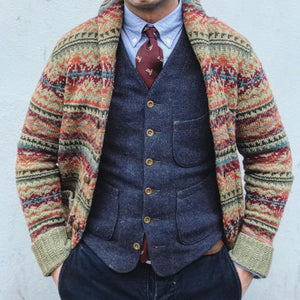 Men's Woven Pattern Long Sleeve Knitwear