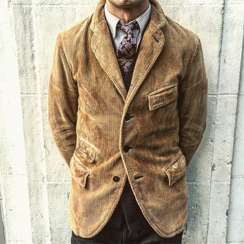 (Up to 60% off)Lapel Corduroy Solid Color Coat