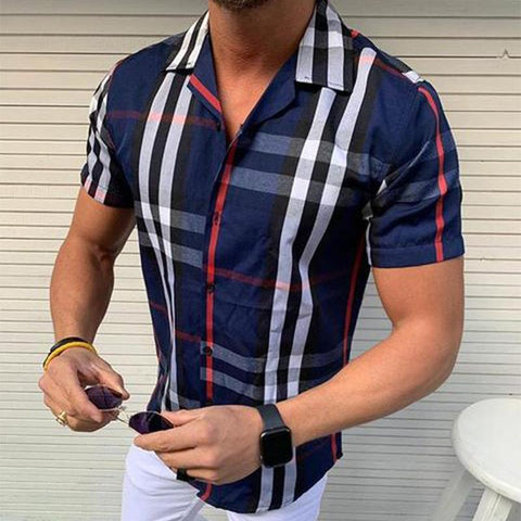Men's Casual Plaid Short Sleeve Shirt