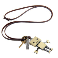 Men Women Retro Long Bronze Robot Leather Rope Necklace Sweater Chain