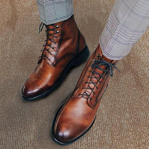 Men Genuine Leather Vintage Lace Up Martin Boots