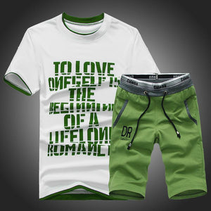 Round Neck Short-Sleeved Men's Sports Suit
