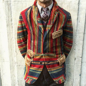 Fashion Casual Rainbow Printed Corduroy Jacket