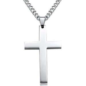 Personality large glossy Jesus cross pendant titanium steel necklace