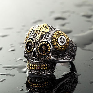 Vintage skull carved stainless titanium steel ring