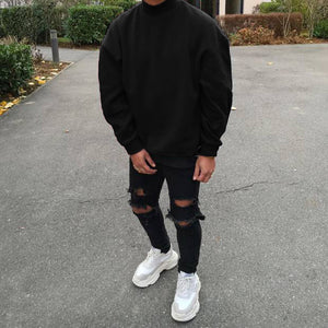 Fashion men's solid color long sleeve sweater