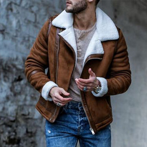 Mens Lapel Plush Collar Leather Decorative Jacket