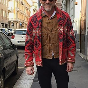 Man's Casual Printed Colour Sweater Coat